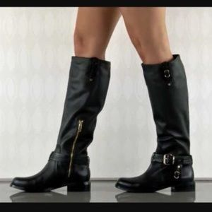 Vince Camuto Black Kabo Tall Leather Knee Boots